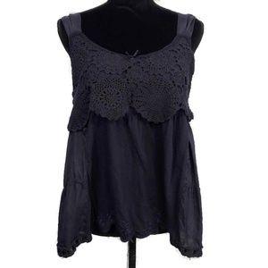 LITTLE YELLOW BUTTON Anthro Crochet Tank Top L